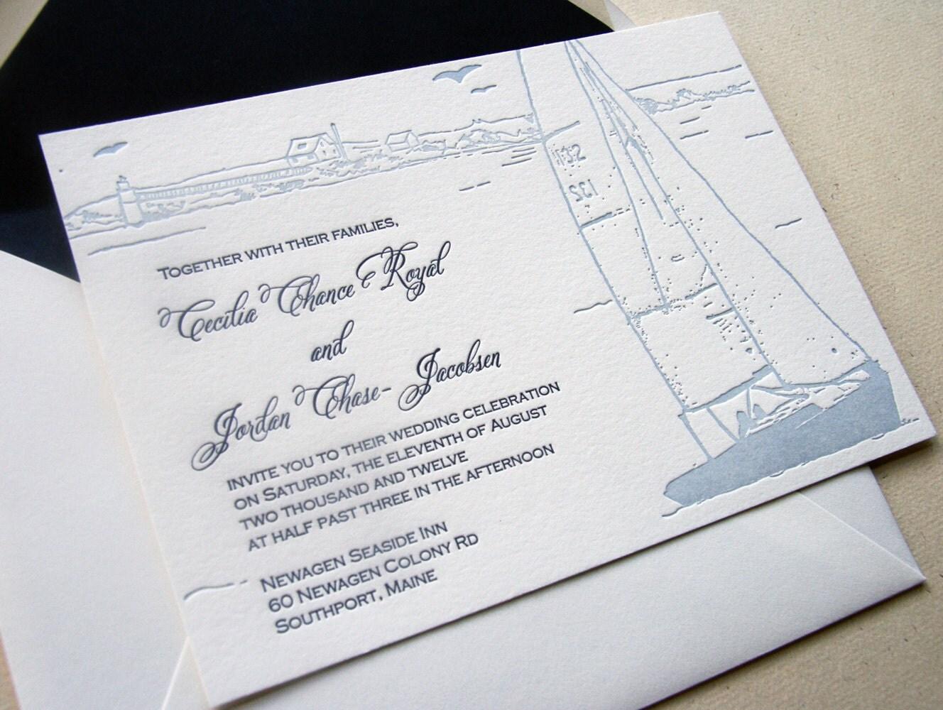 Sailboat Wedding Invitations: Custom Letterpress Wedding Invitations Sailboat