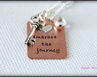 Embrace the Journey Copper Hand Stamped Necklace