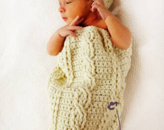 Fisherman Crochet Pattern Cable Cocoon and Hat Set  PDF 174