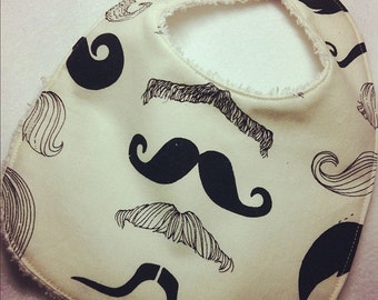 Where's my Stache - Infant or Toddler Bib - Terry Cloth Backing - Reversible with ADJUSTABLE Snaps
