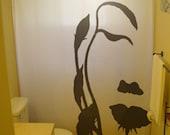 Flower Girl Shower Curtain Floral Woman nature bathroom decor kids bath Face Profile optical illusion butterfly