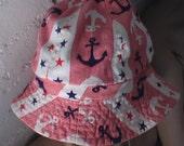 summer beach hat cotton medium anchor sailor stripe Gidget Jaws cap