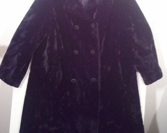 Black faux fur fake fur winter coat mod modern 60s fur trim collar double breasted XL XXL plus size 44 46 Borgazia punk grunge