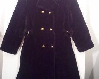 Black faux fur fake fur swing coat mod modern 60s fur trim collar double breasted 36 Gimbels winter coat grunge