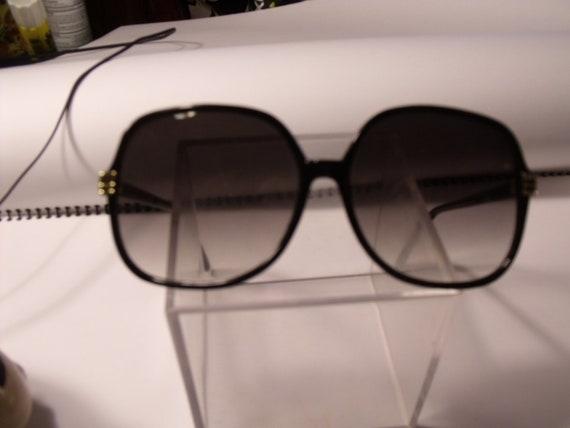 black gold plastic frame sunglasses smoke lenses womens 80s