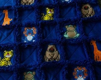 Embroidered fleece rag blanket