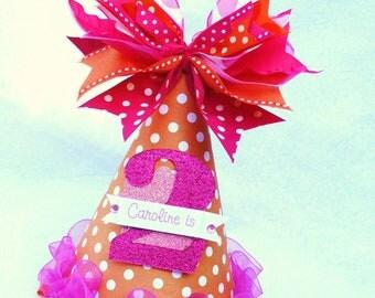 Orange and Hot Pink Polka Dot Birthday Party Hat