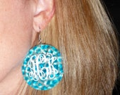 Monogrammed Colored Shell Earrings