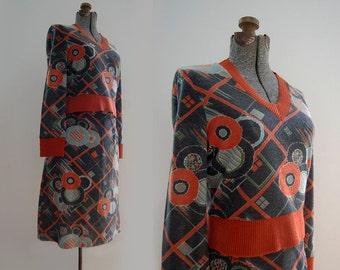 V I  N T A G E Mod Rennie Knit Top and Skirt