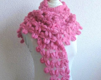 Scarf, Wrap, Shawl, Very Cozy Bean Shawl in  Pink, Magenta