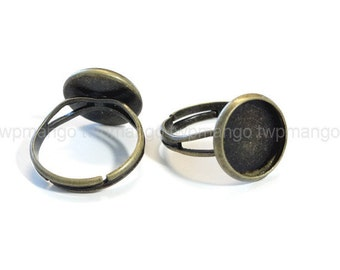 10 Antique Bronze Adjustable Ring Blank...Brass Ring Blanks...Glue Tray... Bezel...12mm...T15
