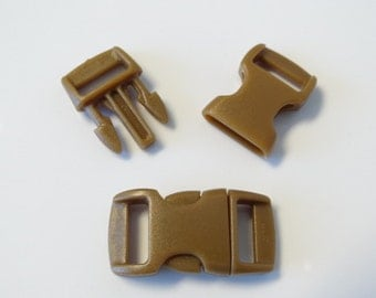 """10pc 3/8"""" Coffee Contoured Side Release Buckles For Paracord Bracelets H78-9 (10pc)"""