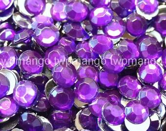 1000 3mm Acrylic Round Crystal Rhinestones Flat Back SS12 Amethyst N66-20