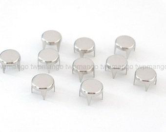 100 Flat Round Metal Studs Spots Nailheads Spikes 8mm N64-8