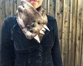 Brown Lemur Monster Scarflette- Five Black Eyes
