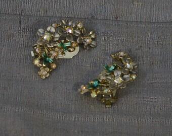 Vintage Aurora Rhinestone Floral Clip-on Earrings