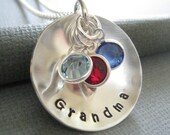 Hand Stamped Mommy Jewelry- Personalized Sterling Silver Custom Necklace - Cupped Grandma Necklace with Birthstones