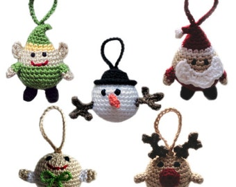 Christmas Character Ball Ornaments - PDF Crochet Pattern - Instant Download