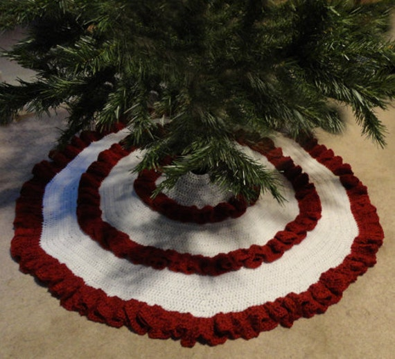 Ruffle christmas tree skirt pdf crochet pattern instant