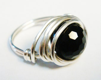 Silver Rings  Sterling Silver Rings    Silver Rings for Women   Black Onyx Ring   Wire Wrapped Jewelry  Black Onyx Jewelry