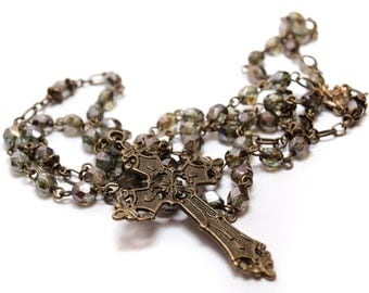 Antique Gold and Olive Rosary