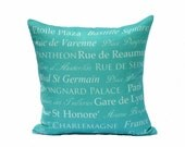 destination throw pillow cover turquoise cream paris french typography linen decor 18x18