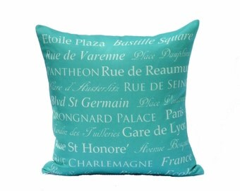 clearance discontinued 50 % off  huge sale destination throw pillow cover turquoise cream paris french typography linen decor 18x18