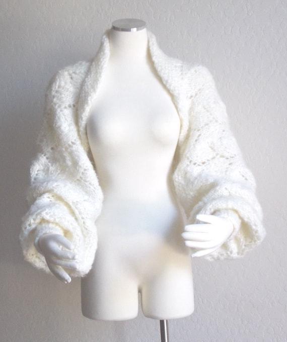 Long Sleeved Shrug Knitting Pattern : Hand Knit Shrug Sweater Jacket Bridal Shrug Balloon Long Sleeve Chunky Lace W...