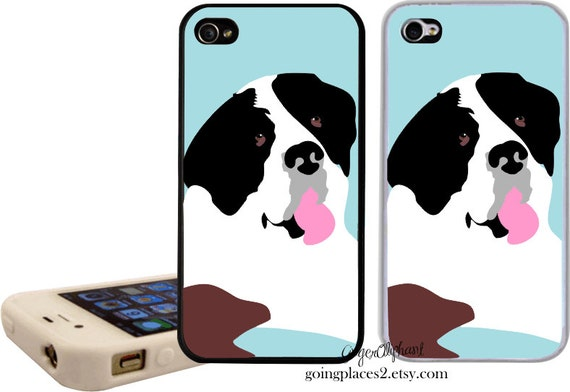 iPhone Case with Saint Bernard Artwork fits iPhone 6, 5, 5c,4 and 4S, Dog iphone case, Dog iphone cover, Saint Bernard Art