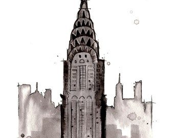Print of original watercolor study of Chrysler Building NYC by Jessica Durrant