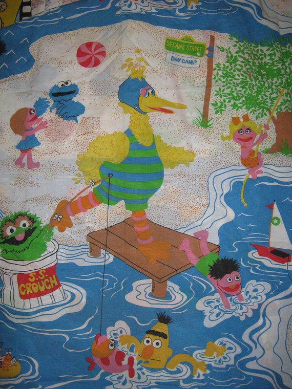reserved Vintage Twin flat Sesame Street bed  sheet