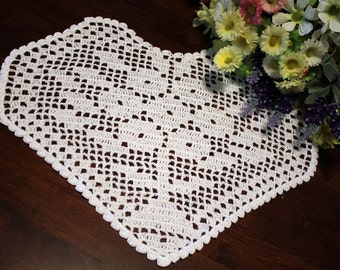 White Crochet heart doily