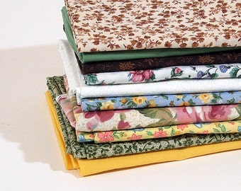 Ten Fat Quarters, 10 Greens, Yellows, Browns, Fabric Bundle