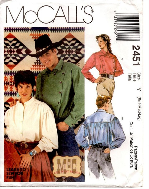 McCalls Sewing Pattern, Western Style Shirts, Mens and Womens Size Small, Medium, Large