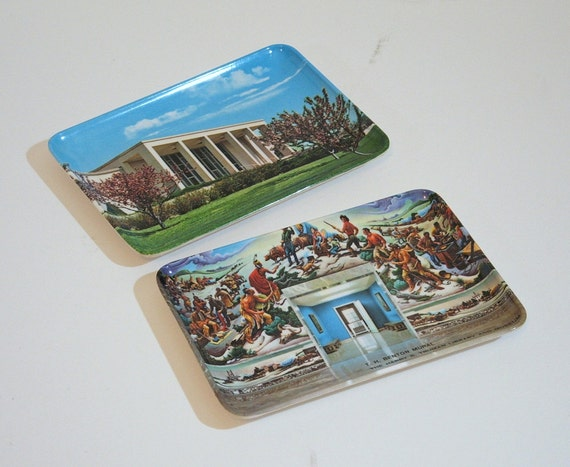 Two Small Vintage Trinket Trays, Truman Library, Melamine Trays, Webel, Italy