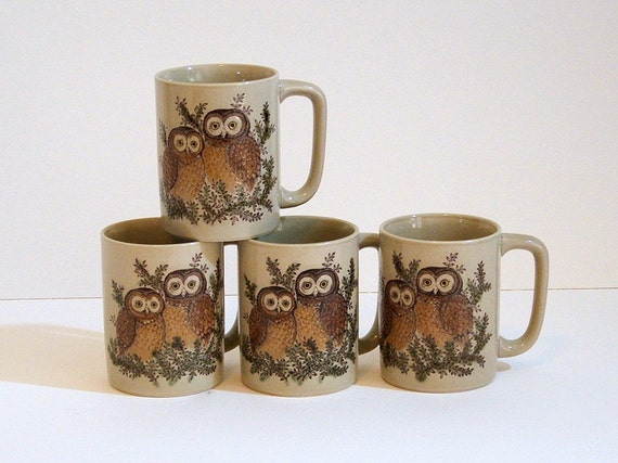 Vintage Owl Coffee Cups