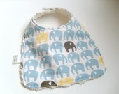 Blue Elephants Bib on Cream Chenille