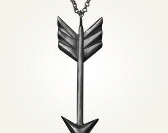 Oxidized Arrow Necklace, Black Sterling Silver, Handcrafted, Tribal, Arrows, Geometric, Chevron, Triangle, Longer Chain.