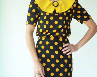 80's Vintage Black and Orange Polka Dot Dress / 2 Piece Skirt and Blouse Set / Peter Pan Collar