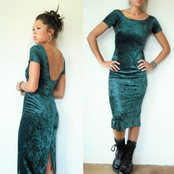 1980s Bodycon Dress / Green Velvet Dress / Low Back -XS/S