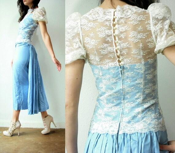 Vintage 80's Cornflower Blue and White Floral Lace Taffeta BUSTLE Dress / Wiggle Pencil Gown
