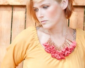 Coral and Rose Gold Fabric Flower Statement Necklace