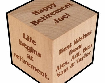 Retirement Gift, Personalized, Block