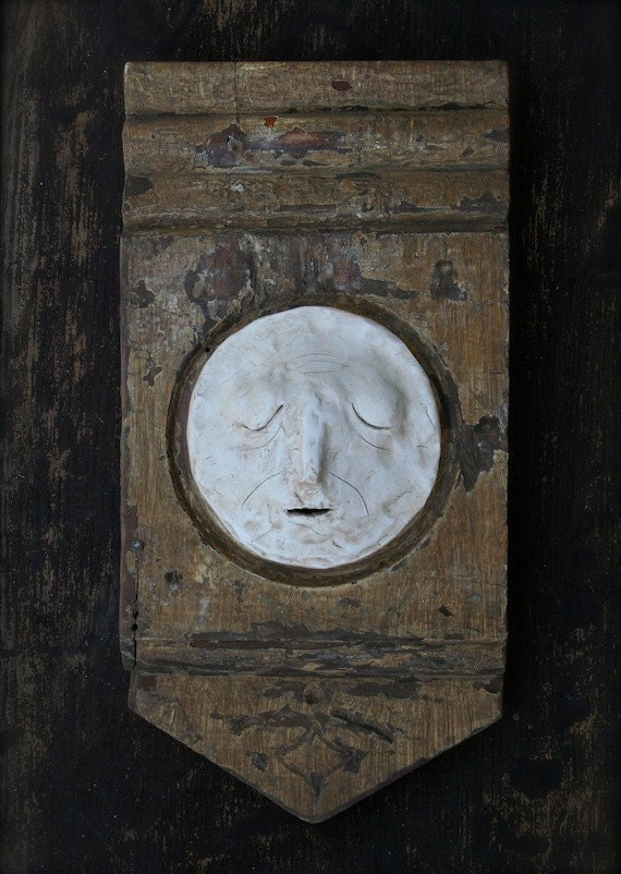 Full Moon Face.Recycled Wood.