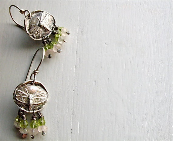 silver Bee earrings : nature jewelry . handmade silver sterling silver, green peridot, rose quartz