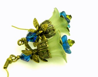 Lucite Flower Earrings - Teal and green Tulip beads