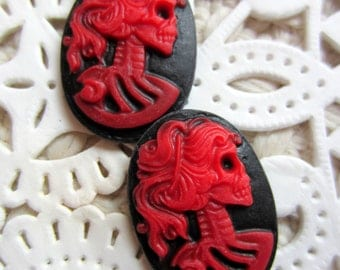 6 Lady skull cameo red black Lolita skull cabochon 18mm 25mm Gothic jewelry making day of the dead