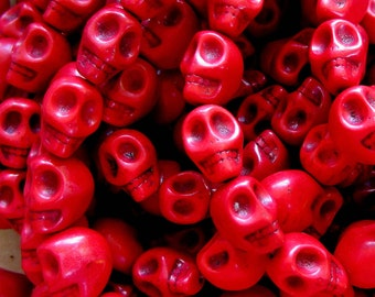 20 Skull beads red howlite gemstone diy jewelry making 10mm x12mm day of dead Turq3