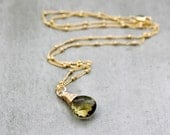 Olive Quartz Necklace, Faceted Hazel Moss Green Quartz Gemstone 14k Gold Filled Wire Wrapped Necklace - Elfin