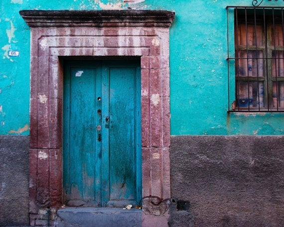 Mexico Photography San Miguel de Allende Photo House Wall Door Red Teal Turquoise Blue Shabby Chic lat2